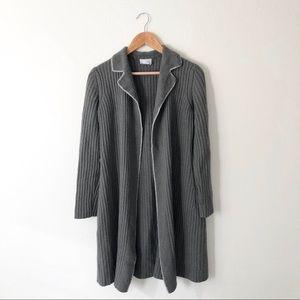 Loft Grey Ribbed Wool Blend Long Cardigan
